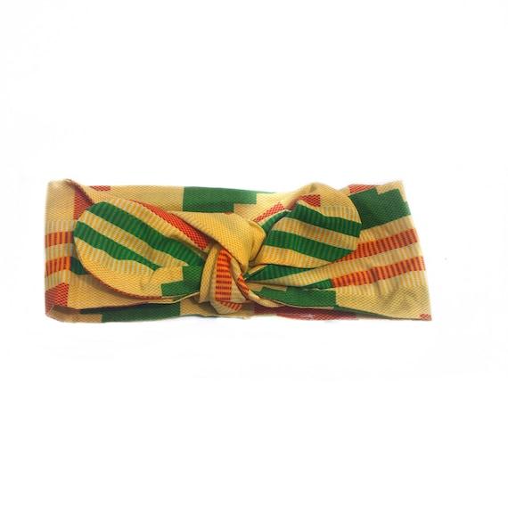 African Ankara Kente Headwrap // Baby / Toddler / Girl Headwrap Head Wrap Headband Bow - Yellow Orange Green Kente