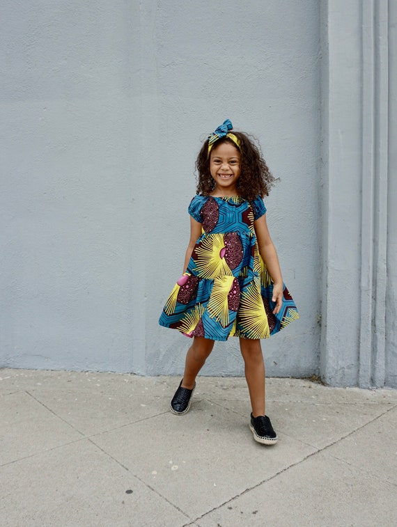 Kids Girls Baby Ruffle Tiered Dress Ankara African Print Outfit // 2T - 9/10 // Turquoise Yellow Pink