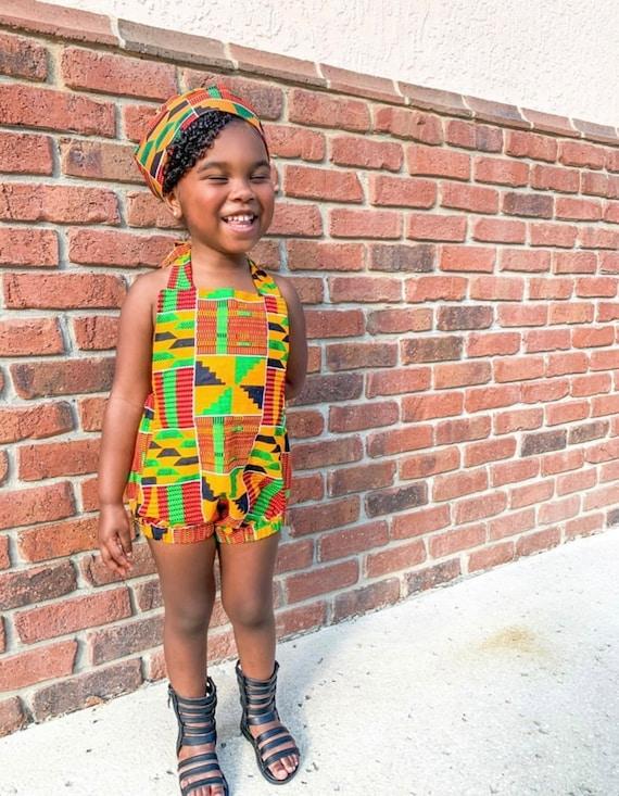 African Ankara Kente Print Romper Baby Jumpsuit / Toddler / Kids Girls - Black Orange Green Kente Print - NB - 5T