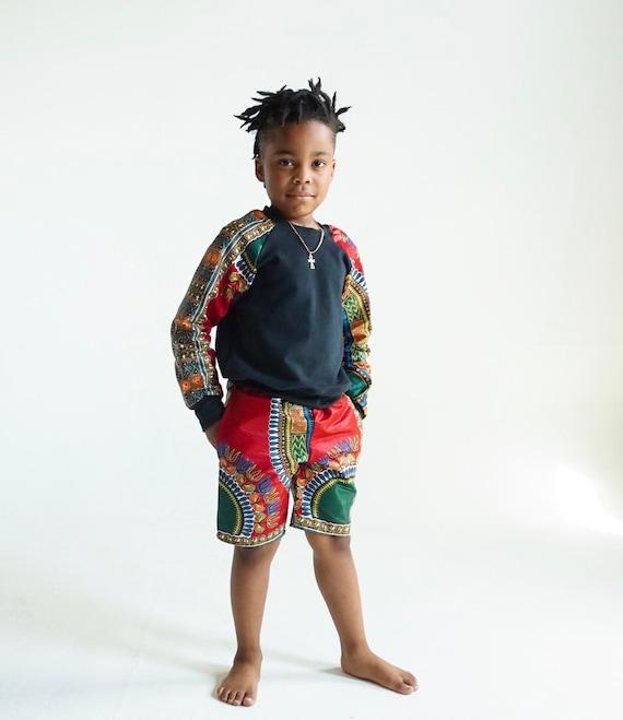 Kids Boys Baby Toddler Crew Neck Sweatshirt Unisex // Red Dashiki Ankara African Print Sleeves // 6m - 9/10