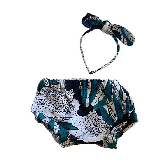Baby African Print Diaper Cover Bloomer + Headband Bow Ankara Print // Baby Gift  African Baby Shower Gift// SAMPLE SALE // 0-3m