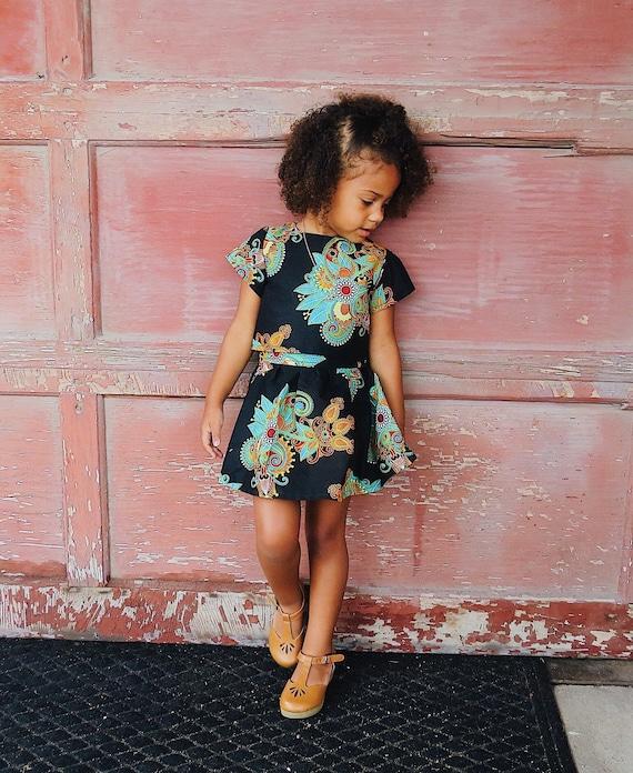 Toddler Girls Skirt  // African Ankara Print // Toddler Girls kids Outfit // Black Floral // Size 3T