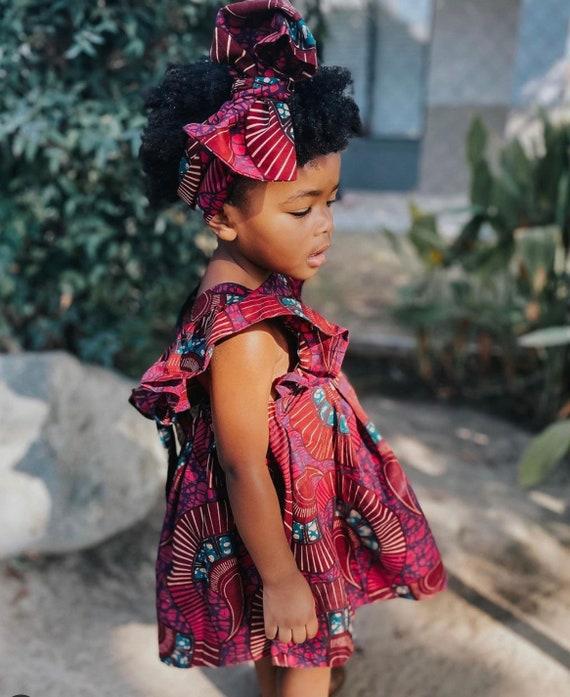 Kids Girls Baby Pinafore Dress Ankara Print Ruffle Ruffled Dress Outfit // 0-3m - 6 // Burgundy Fuchsia Pink