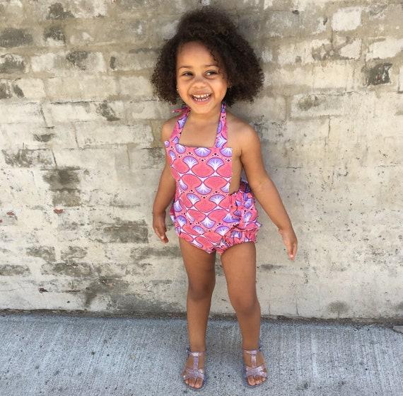 Girls African Ankara Shells Mermaid Print Romper Baby Jumpsuit / Toddler / Kids Girls - Pink Mermaid Shells Print - NB - 5T