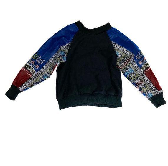 Kids Baby Toddler Crew Neck Sweatshirt Unisex // Blue Dashiki Ankara African Print Sleeves // 6m - 9/10