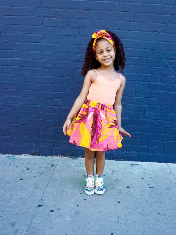 Girls African Print Pink Skirt // Orange Yellow Pink Tropical // African Ankara Print // Baby Toddler Girls Outfit