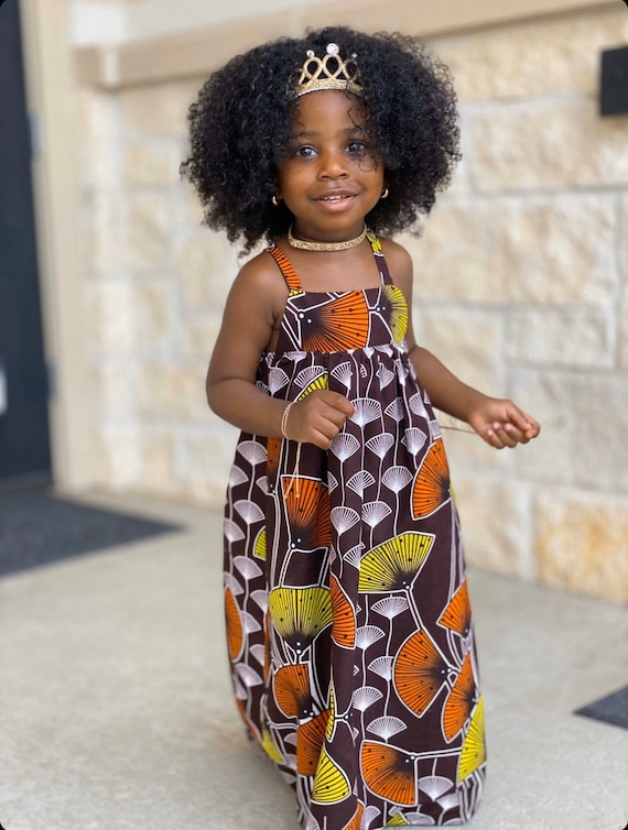 Kids Ankara African Print Boho Maxi Dress // Brown Lime Orange Ankara Fabric / Baby Toddler Kids Sizes 0-3m - 7/8