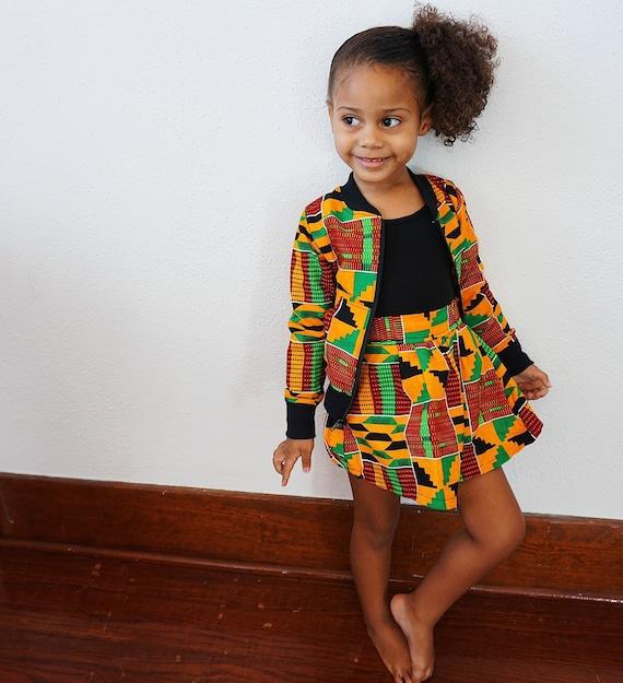Girls Kente African Print Skirt  // Orange Red Green Ankara // Baby Toddler Kids Size 6m - 9/10