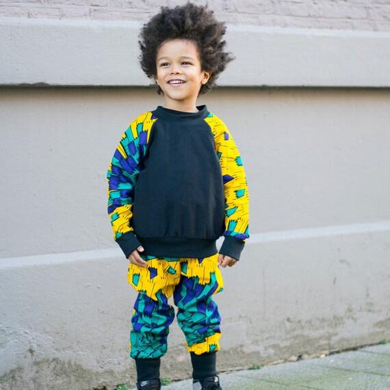 Boys African Print Crew Neck Sweatshirt Ankara Print // Yellow Blue Green  Ankara African Print Sleeves // Toddler 4T SAMPLE SALE