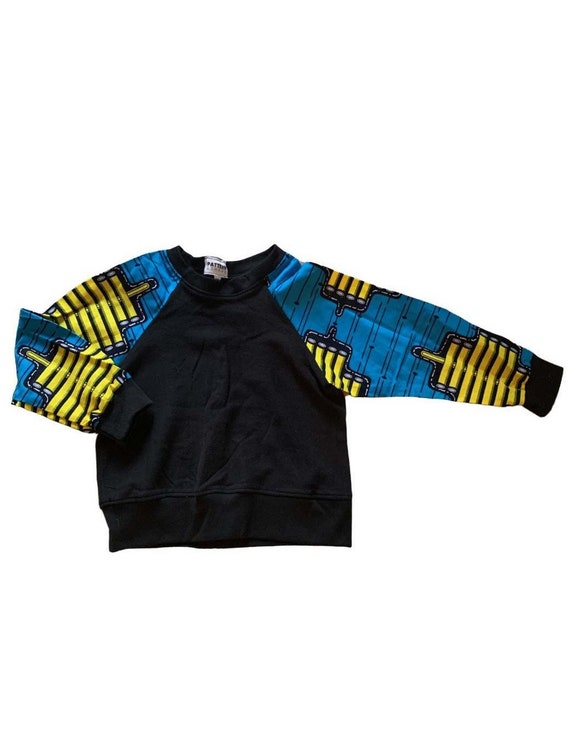 Kids 4T Toddler Crew Neck Sweatshirt // Black + Blue / Yellow Ankara African Print Sleeves // SAMPLE SALE