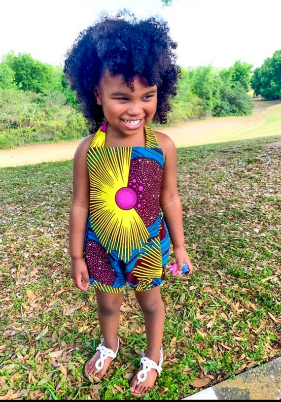Baby Toddler Girls African Print Romper Outfit - sizes NB - 6 // Teal Pink & Yellow African Ankara Print