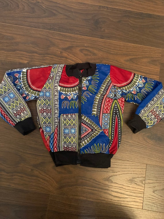SAMPLE SALE RTS // Kids Blue Dashiki Bomber Aviator Jacket Unisex // Blue Dashiki Ankara African Print // // size 3t
