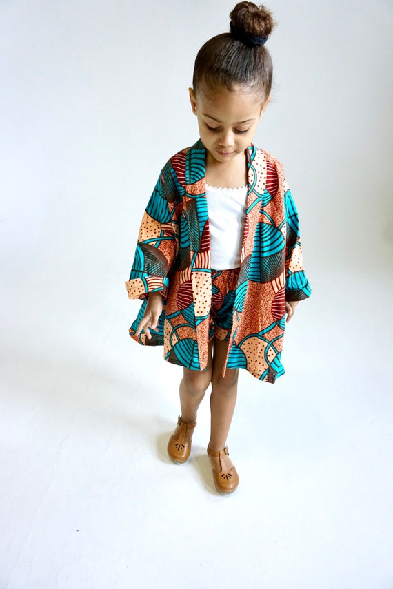 ADULT Kimono Jacket Cardigan // Ankara African Fabric // WOMENS MEDIUM // Light Orange Turquoise