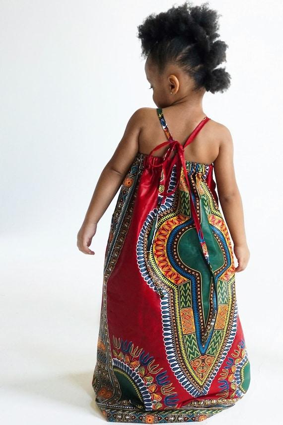 Kids Ankara African Print Boho Maxi Dress // Red Dashiki Ankara Fabric / Baby Toddler Kids