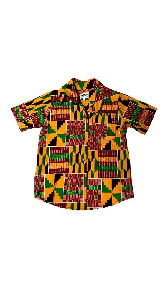 Kids Boys African Print Button Up Short Sleeve Shirt // Black Red Orange Green Kente // size 6 // SAMPLE SALE