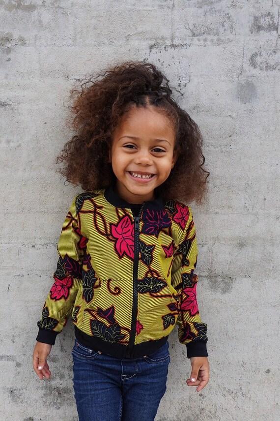Kids Toddler Bomber Aviator Jacket Unisex // Citrine Neon Yellow Fuschia Flowers Ankara African Print Fabric // SAMPLE SALE 3T