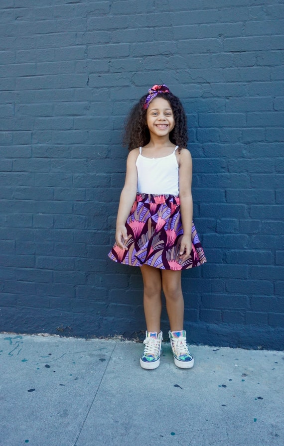 Girls African Print Pink Skirt // Pink Purple Brown // African Ankara Print // Baby Toddler Girls Outfit