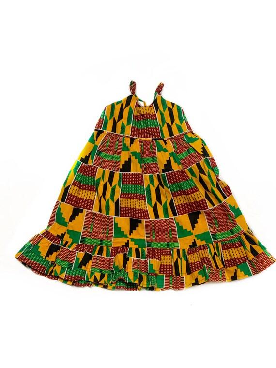 Girls Kente African Print Ruffle Dress // Ankara Print Orange Red Green Kente   // Toddler Kids Size 4T