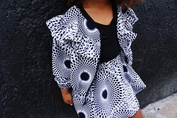 Kids Ruffle Bomber Jacket Unisex // African Print Kids Jacket // Indigo Black White Ankara African Print Fabric // 6m - 9/10