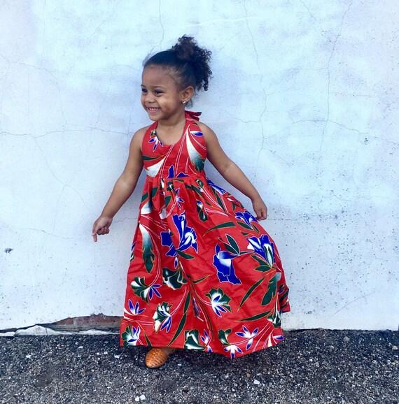 Kids Girls Ankara Tropical Print Boho Maxi Dress // Red Hawaiian Tropical Floral Ankara Fabric / Baby Toddler Kids Sizes NB- 5T