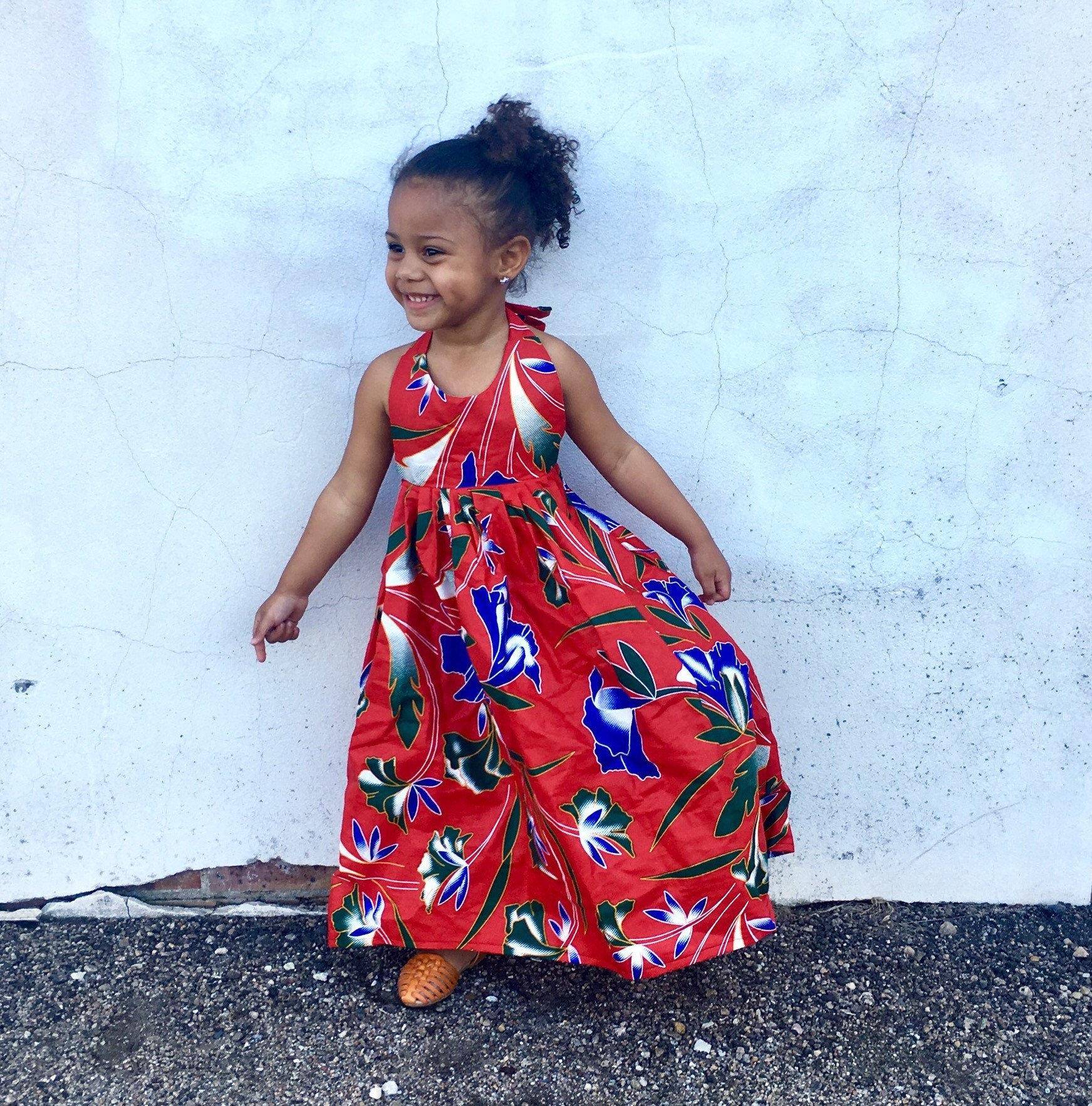 4c1cd78245bfa Kids Girls Ankara Tropical Print Boho Maxi Dress // Red Hawaiian Tropical  Floral Ankara Fabric / Baby Toddler Kids Sizes NB- 5T