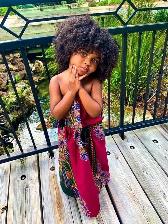 Kids Ankara African Print Boho Maxi Skirt + Top // Cranberry Burgundy Dashiki Ankara Fabric / Baby Toddler Kids Sizes NB- 6