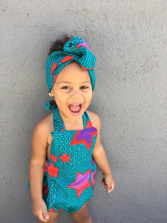 African Ankara Print Romper Outfit - Baby Toddler Girls Kids - Turquoise Stars Ankara Print - NB - 5T