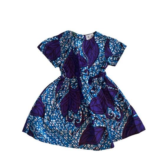 Girls African Print Short Sleeve Dress  Turquoise Purple // Ankara Print Kids Outfit Dress   // Toddler Size 3T SAMPLE SALE