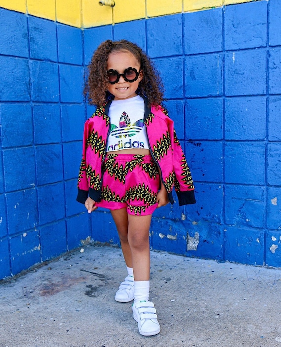 Girls African Print Bomber Jacket //  Kids Bomber Jacket // Hot Pink Black  Ankara African Print Outift // Baby Toddler Kids 6m - 9/10