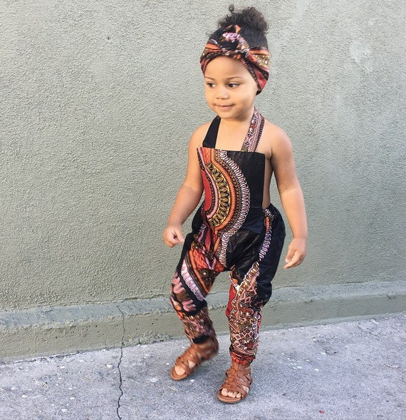 African Ankara Dashiki Print Jumpsuit Outfit - Baby Girl Toddler Kids - sizes 0-3m - 5T Black Dashiki