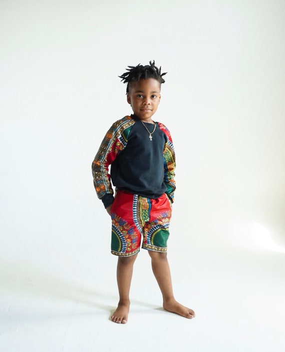 Boys Baby Toddler African Ankara Kids Shorts // Ankara African Dashiki print // Burgundy Red Dashiki//  nb - 9/10