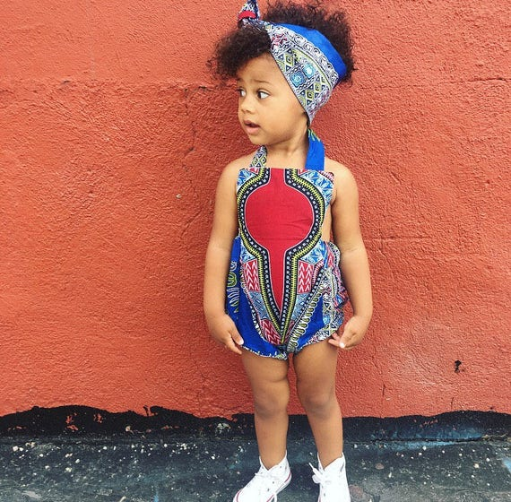 African Ankara Dashiki Print Romper Baby Jumpsuit / Toddler / Kids Girls - Blue Dashiki - NB - 5T