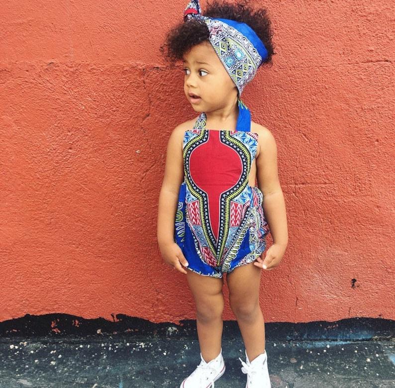 ed5193f2c43 African Ankara Dashiki Print Romper Baby Jumpsuit   Toddler