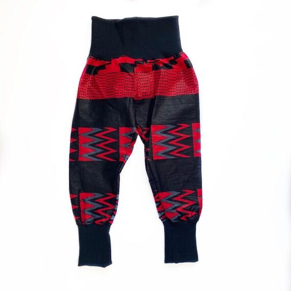 FLASH SALE  Ankara Print Toddler Kids Baby Boy Harem Jogger Pants Unisex - Sizes nb-5t - Black Red Ankara RTS