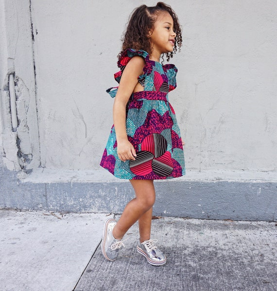 Kids Girls Baby Pinafore Dress Ankara Print Ruffle Ruffled Dress Outfit // 0-3m - 6 // Turquoise Pink Purple