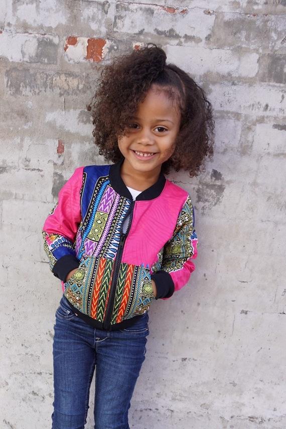 Kids African Wax Print Bomber Jacket  // Hot Pink Dashiki Ankara African Print Fabric // Unisex Size 6m - 9/10