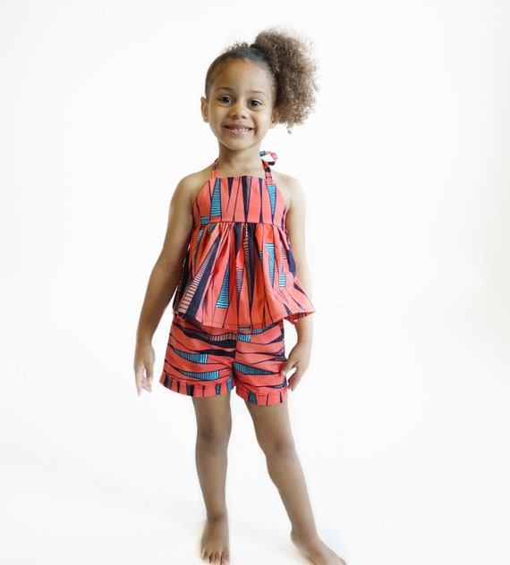 Girls Baby Toddler African Ankara Kids Shorts // Ankara African print // Light Orange Blue Black //  nb - 9/10