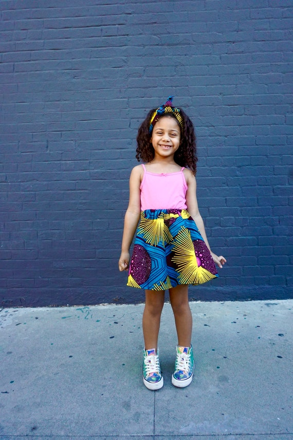 Girls African Print Pink Skirt // Teal Yellow Pink // African Ankara Print // Baby Toddler Girls Outfit