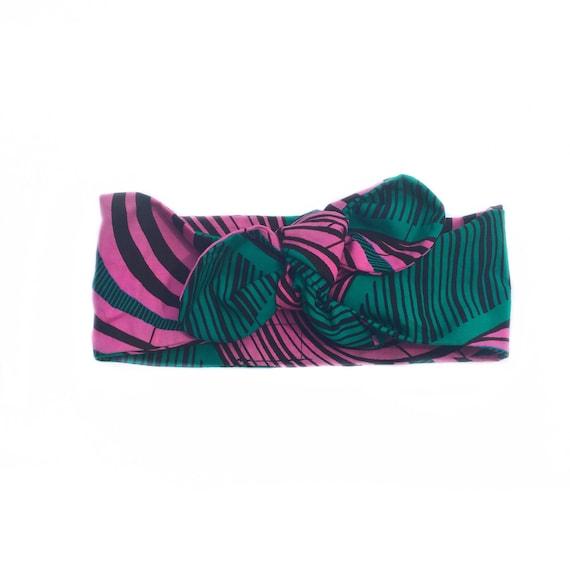 Ankara African Kente Print Baby Girl Kid Toddler Headband Headwrap -  Pink Green Head Scarf
