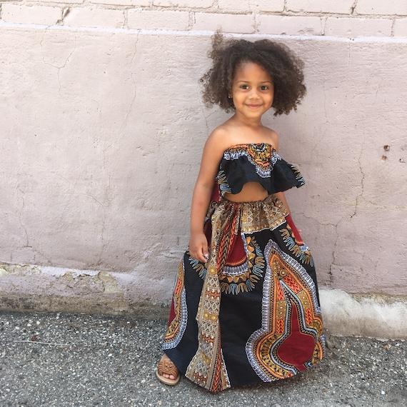 Kids Ankara African Print Boho Maxi Skirt + Headwrap // Black Red Dashiki Ankara Fabric / Baby Toddler // Size 6-12m // SAMPLE SALE RTS