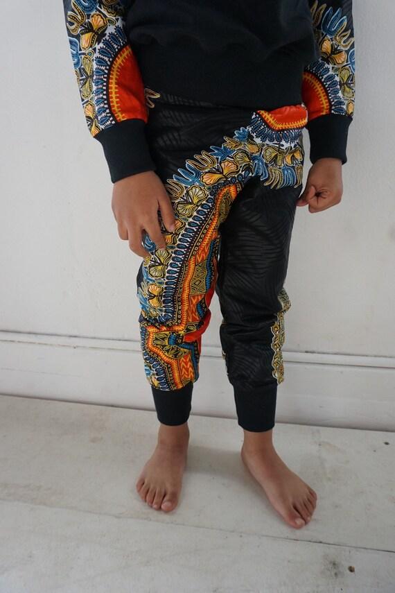 African Dashiki Print Toddler Joggers Kids Baby Boy Harem Jogger Pants -Black Dashiki - sizes nb - 9/10