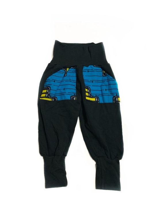 African Ankara Print Boys Jogger Pants Joggers Sweatpants // Blue Yellow Ankara Pocket // African Baby Toddler Kids Clothes
