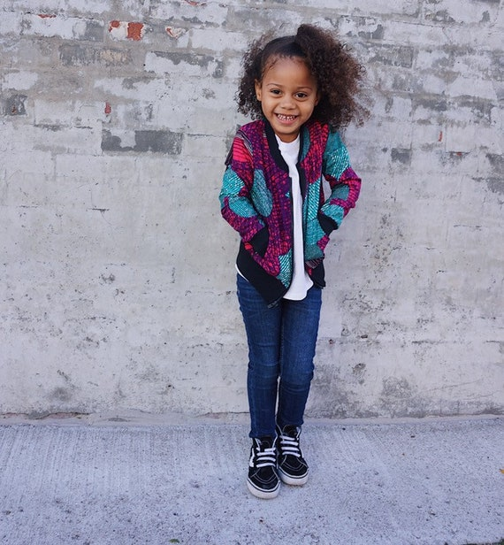 Kids Baby Toddler Bomber Aviator Jacket Unisex // Turquoise Purple Ankara African Print Fabric // size 3T // SAMPLE SALE RTS