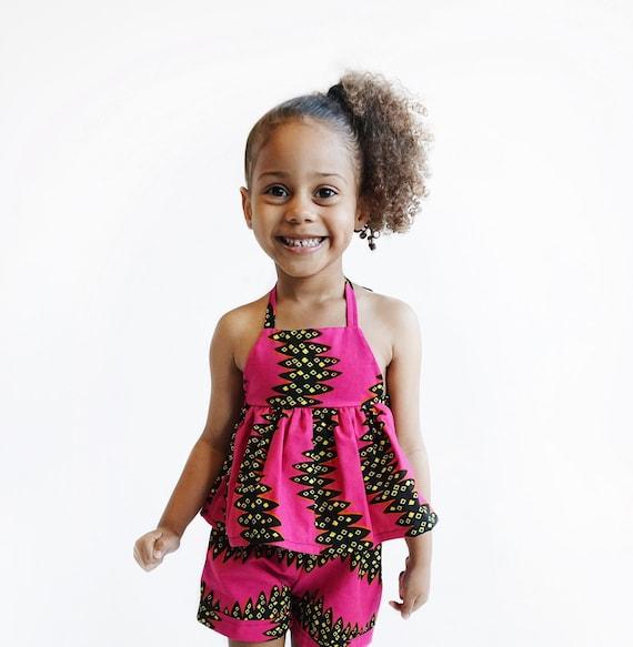 Kids Girls Baby African Ankara Print Ruffle Tank Top Outfit // nb - 9/10 // Hot Pink Black Yellow