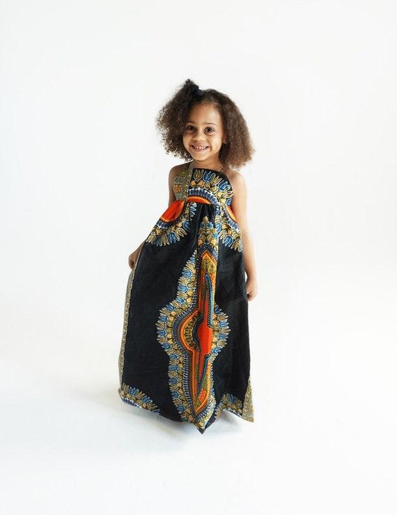 Kids Ankara African Print Boho Maxi Dress // Black Orange Dashiki Ankara Fabric / Baby Toddler Kids Sizes NB- 5T