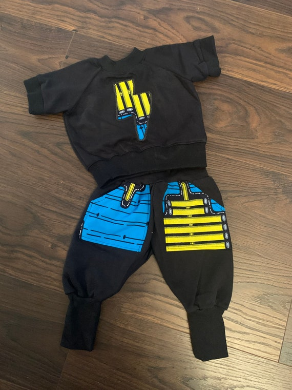 SAMPLE SALE African Tribal Print Toddler Ankara Kids Baby Boy Harem Jogger Pants Unisex -  Blue Brown Ankara & More Prints // RTS