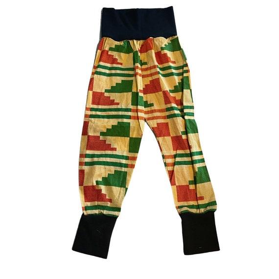 African Ankara Kente Print Toddler Kids Boys Jogger Pants Joggers - Black Orange Green Kente Mudcloth Print // 3T //SAMPLE SALE