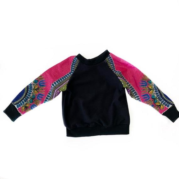 Kids Baby Toddler Crew Neck Sweatshirt Unisex // Hot Pink Dashiki Ankara African Print Sleeves // 6m - 9/10
