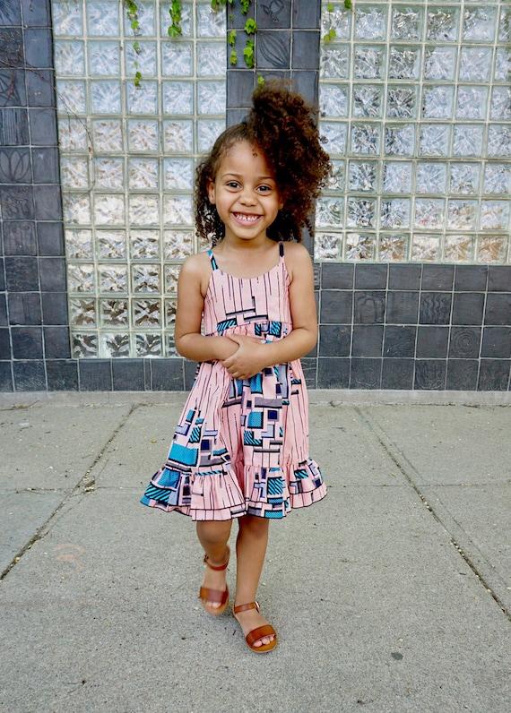 Girls Ankara Ruffle Dress // Ankara African Print Pink Blue Black // Baby Toddler Kids Sizes 0/3 - 9/10