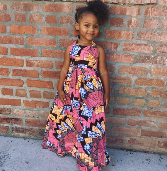 Little Girls Ankara African Print Boho Maxi Dress - Pink Orange Ankara Print - sizes 6-12m & 3t // SAMPLE SALE RTS